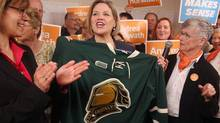 NDP Leader Andrea Horwath, who was campaigning in London, Ont., on Friday is leading a focus on pragmatism. (Dave Chidley/THE CANADIAN PRESS)