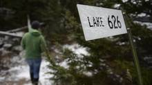 A sign marking one of the many lakes that are part of the Experimental Lakes Area near Kenora, Ont., is seen on Nov. 1, 2012. (FRED LUM/THE GLOBE AND MAIL)