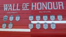 The wall of honour for Toronto FC is unveiled at BMO Field in Toronto, Thursday, March 2, 2017. (Neil Davidson/THE CANADIAN PRESS)