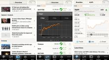 Screenshots from the Globe Investor app for iPhone.
