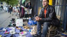 George Shearer, 45, lives on the streets of the Downtown Eastside and is sceptical about the promises to help him. (John Lehmann/The Globe and Mail)
