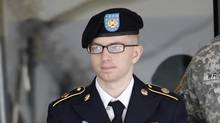 In this March 15, 2012 photo, army Pfc. Bradley Manning leaves the courthouse after his motion hearing at Fort Meade in Maryland March 15, 2012. (JOSE LUIS MAGANA/REUTERS)