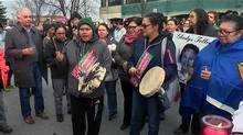 The Crown's decision not to pursue charges against police officers drew protests in Val-d'Or, Que. (Courtesy of CBC)