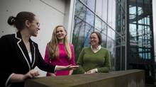 From left, Emily Graham, Eve Hart and Liz Firer-Gillespie at UBC's Sauder School of Business in Vancouver. (Rafal Gerszak for The Globe and Mail)