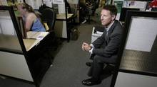 Roger Hardy, Chariman and CEO of Coastal Contacts Inc. in the call center at his office in Vancouver, BC, August 31, 2007. Hardy's company sells contact lens products online. (Lyle Stafford/For the Globe and Mail)