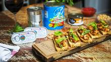 Chef Tret Jordan's bruschetta dish that includes canned chickpea, tuna and tomatoes is pictured at Homer St. Cafe in Vancouver, British Columbia on January 7, 2016. (Ben Nelms/The Globe and Mail)