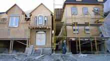 New houses under contruction off Bayview Avenue near Pottery Road in Toronto are seen in this file photo. (DEBORAH BAIC/THE GLOBE AND MAIL)