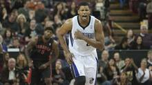 Sacramento Kings small forward Rudy Gay (8) reacts after scoring against the Toronto Raptors during the second quarter at Sleep Train Arena. (Ed Szczepanski/USA Today Sports)