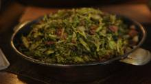 Shredded Brussels sprouts with macadamia nuts and prosciutto. (Fred Lum/Fred Lum/The Globe and Mail)