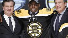 Boston Bruins goaltender Malcolm Subban reacts after being chosen 24th overall in the first round of the NHL hockey draft on Friday, June 22, 2012, in Pittsburgh. (Keith Srakocic/AP)