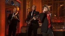 Mick Jagger performs with Arcade Fire on Saturday Night Live, May 19, 2012. (NBC Screen Capture/NBC Screen Capture)