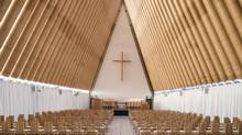 Ban's Cardboard Cathedral in Christchurch, N.Z., cost $5-million and is projected to last 50 years. (Stephen Goodenough)