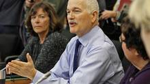 New Democratic Party Leader Jack Layton speaks during a caucus meeting in Ottawa on Jan. 27, 2011. (CHRIS WATTIE/REUTERS)