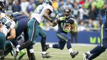 Running back Troymaine Pope of the Seattle Seahawks rushes against the Philadelphia Eagles on Nov. 20, 2016. (Otto Greule Jr/Getty Images)