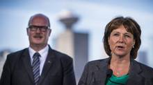 B.C. Premier Christy Clark and B.C. Finance Minister Michael de Jong attend a press conference in Vancouver on June 29, 2016. (John Lehmann/The Globe and Mail)