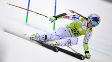 US skier Lindsey Vonn competes during the Super G race of the women's Combined competition at the FIS Alpine Skiing World Cup Women's on February 28, 2016 in El Tarter, Andorra. Vonn suffered a broken arm during training in Colorado on Thursday, November 10, 2016. (JAVIER SORIANO/AFP/Getty Images)