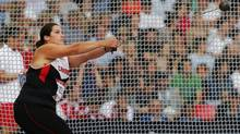 Canada's Sultana Frizell competes in the women's hammer throw final at the 2014 Commonwealth Games in Glasgow, Scotland, July 28, 2014. (SUZANNE PLUNKETT/REUTERS)