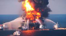 Fire boats battle a fire at the offshore oil rig Deepwater Horizon, on April 21 in the Gulf of Mexico off the coast of Louisiana. Multiple Coast Guard helicopters, planes and cutters responded to rescue the Deepwater Horizons 126 person crew after an explosion and fire caused the crew to evacuate. (U.S. Coast Guard/Getty Images)