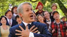 Rick Miller as Brian Mulroney, singing in front of the Baie Comeau chorus. Miller portrays the former prime minister in Mulroney: The Opera. (Steve Wilkie)