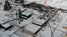 The Babine sawmill is shown after the explosion and fire on Jan. 20, 2012. (WORKSAFE BC)