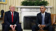 President-elect Donald Trump meets with President Barack Obama, in the White House Oval Office on Nov. 10, to discuss transition plans. (KEVIN LAMARQUE/REUTERS)