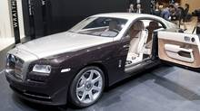 The new Rolls-Royce Wraith is shown during the press day at the 83rd Geneva International Motor Show in Geneva, Switzerland, Wednesday, March 6, 2013. (SANDRO CAMPARDO/AP Photo)