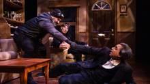 Tony Nappo, Julian Richings, Anand Rajaram in Mustard, at the Tarragon Theatre. (Cylla von Tiedemann)