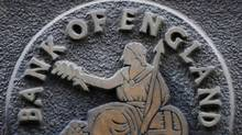 A plaque depicting Britannia is seen on the outside of the Bank of England in the City of London February 4, 2010. (REUTERS)
