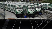 GO trains parked at the North Bathurst yard in Toronto are pictured on June 15, 2016. (Fred Lum/The Globe and Mail)