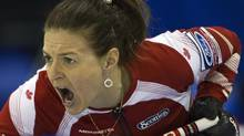 Canada skip Heather Nedohin shouts to teammates to sweep during their game against Russia at the World Women's Curling Championships in Lethbridge, Alberta March 20, 2012. (ANDY CLARK/REUTERS)