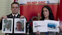 RCMP Insp. Tim Shields and Sgt. Jennifer Pound hold up photos of Angus David Mitchell during a news conference in Burnaby, B.C. Wednesday, May 30, 2012. Mitchell is wanted for attempted murder and is considered armed and extremely dangerous. Sgt. Pound also holds photos of the type of weapon and vehicle that may be used by Mitchell. (JONATHAN HAYWARD/THE CANADIAN PRESS)