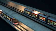 A Metrolinx-TTC rendering shows LRT cars passing on Eglinton LRT line. (Metrolinx)