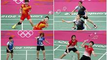 "Combination photo made August 1, 2012 shows the women's doubles pair of (clockwise from top left) China's Wang Xiaoli (L) and Yang Yu, South Korea's Jung Kyung Eun (Top) and Kim Ha Na, Indonesia's Greysia Polii and Meiliana Jauhari and South Korea's Ha Jung-eun (L) and Kim Min-jung during their matches during the London 2012 Olympics. The World Badminton Federation charged eight female players with misconduct on August 1, 2012 after four Olympic doubles teams had attempted to ""throw"" matches to secure a more favourable draw later in the tournament. (BAZUKI MUHAMMAD/REUTERS)"