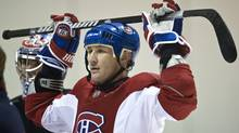 Montreal Canadiens Alexei Kovalev listens to instructions during a practice, Tuesday, April 14, 2009 in Brossard, Que. (The Canadian Press)