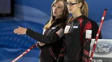 Canada's skip Rachel Homan and second Alison Kreviazuk (Andrew Vaughan/THE CANADIAN PRESS)