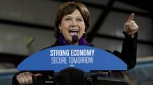 B.C. Liberal Leader Christy Clark addresses a gathering during a campaign stop in Campbell River, B.C., on May 11, 2013. British Columbians will go to the polls May 14th. (JONATHAN HAYWARD/THE CANADIAN PRESS)