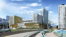 Rendering of BC Place and the proposed entertainment complex to be built on adjacent land owned by PavCo. (Handout/Handout)