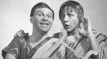 Johnny Wayne (left) and Frank Shuster are seen in this undated CBC handout photo, sporting costumes from a Julius Caesar sketch routine. Today's topics: evil's details; green dreams; First Nation youth; Big Julie's demise ... and more (CP)
