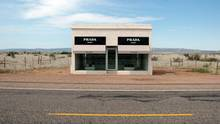 Outside of town, there's Prada Marfa, a roadside booth showcasing Prada shoes and handbags. It's a hoax, a comment by artists on Marfa's international reputation.