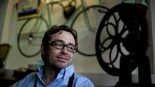 Thomas Eleizegui, owner of Musette Caffe, hopes his establishment will be a new hangout for cyclists – the first cycling-oriented coffee shop in Vancouver, where people can meet, pump up their tires, and grab a coffee. (Rafal Gerszak for The Globe and Mail/Rafal Gerszak for The Globe and Mail)