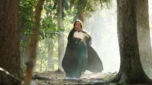 Shaun Majumber portrays a Laura Secord character during the shooting of a parody of the federal government's War of 1812 TV commercial at Point Pleasant Park in Halifax, Nova Scotia, on Sept. 13, 2012. (Paul Darrow for The Globe and Mail)