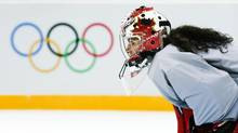 Canada's goaltender Shannon Szabados looks on during their women's ice hockey team practice ahead of the 2014 Sochi Winter Olympics February 4, 2014. (MARK BLINCH/REUTERS)