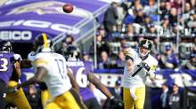 Pittsburgh Steelers quarterback Ben Roethlisberger the ball in the third quarter against the Baltimore Ravens at M&T Bank Stadium. (Evan Habeeb/USA Today Sports)