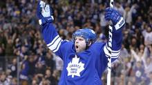 Toronto Maple Leafs right wing Phil Kessel (81) celebrates his second goal of the game in the third period against the Ottawa Senators at Air Canada Centre. The Maple Leafs beat the Senators 6-3. (USA TODAY Sports)