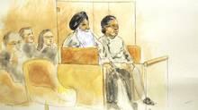 A sketch of Surjit Badesha and Malkit Sidhu in B.C. Supreme Court (Sheila Allan/Sheila Allan)