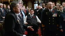 Minister of Veterans Affairs and Associate Minister of National Defence Minister Kent Hehr arrives to take part in the Ceremony of Remembrance in the Senate on Parliament Hill in Ottawa on Thursday, November 5, 2015. (Sean Kilpatrick/THE CANADIAN PRESS)