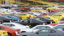 Camaro's at a storage lot adjacent to the General Motors assembly plant offices in Oshawa, Ont. (KEVIN VAN PAASSEN/THE GLOBE AND MAIL)