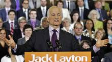 NDP Leader Jack Layton delivers a speech to his caucus in Ottawa on May 24, 2011. (CHRIS WATTIE/REUTERS)