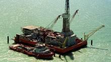An oil drilling platform at the Kashagan oil field in western Kazakhstan. (REUTERS)