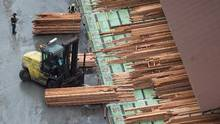 Workers sort and move lumber at the Delta Cedar Sawmill in Delta, B.C., on Friday January 6, 2017. (DARRYL DYCK/THE CANADIAN PRESS)